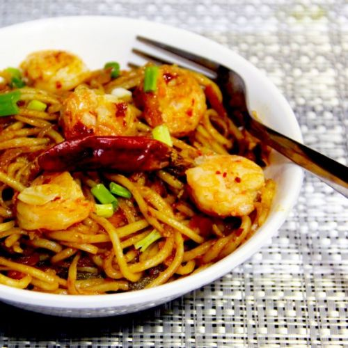Prawns chilli garlic noodles