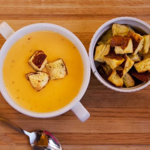 Beer Cheese Soup & Pretzel Croutons