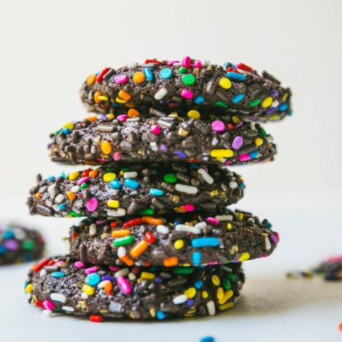 Chocolate Crinkle Sprinkle Cookies
