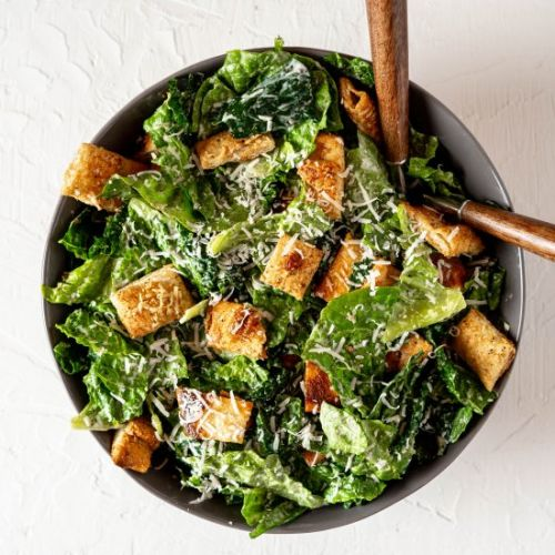 Salad with Pizza Crust Croutons