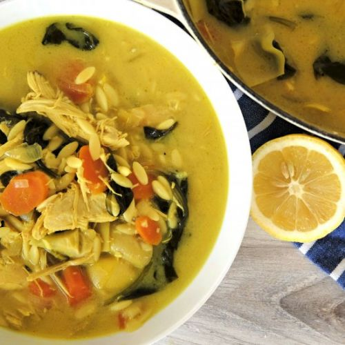 Chicken & Orzo Soup with Turmeric