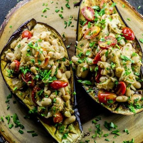 Fennel White Bean Stuffed Eggplant