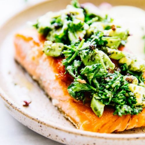 Seared Salmon & Avocado Gremolata