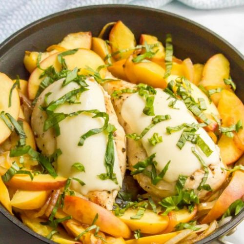 Summer skillet chicken with peaches