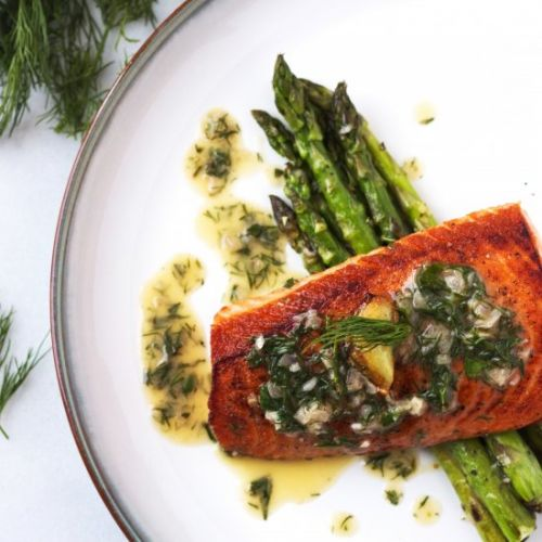 Salmon With Garlic Dill Butter