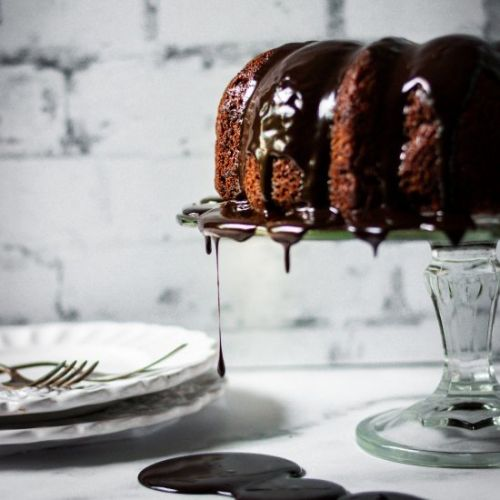 Malted chocolate bundt cake
