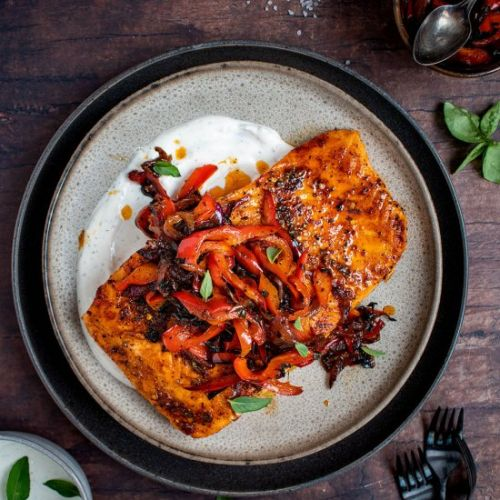 Spiced Salmon with Pepper Relish