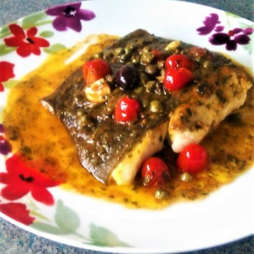 SEARED HALIBUT WITH OLIVE & CAPER S