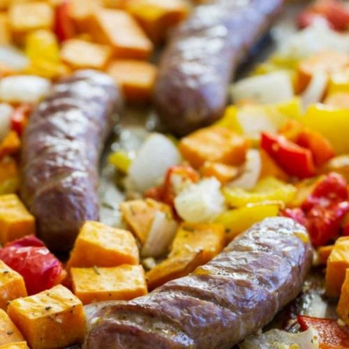 Sheet Pan Sausage and Peppers