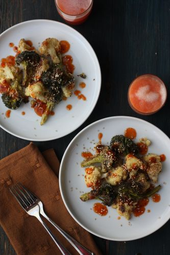 CRISPY CAULIFLOWER AND BROCCOLI WITH ASIAN DRESSING
