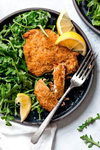 Air Fryer Chicken Milanese with Baby Arugula
