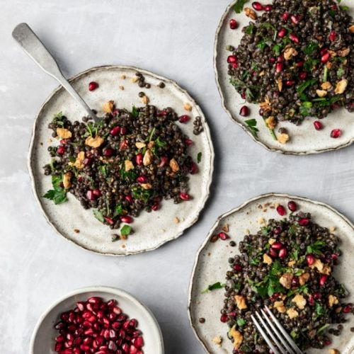 Black Lentil Pomegranate Salad