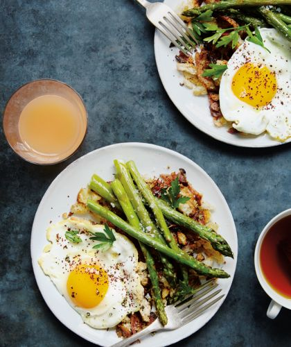 Fried Eggs with Asparagus and Pancetta