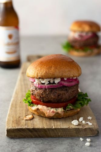 Harissa Lamb Burgers with Feta and Pickled Onions