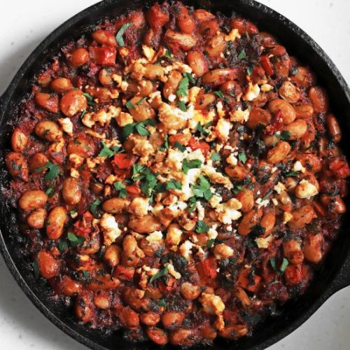 Baked butter beans and nestled feta