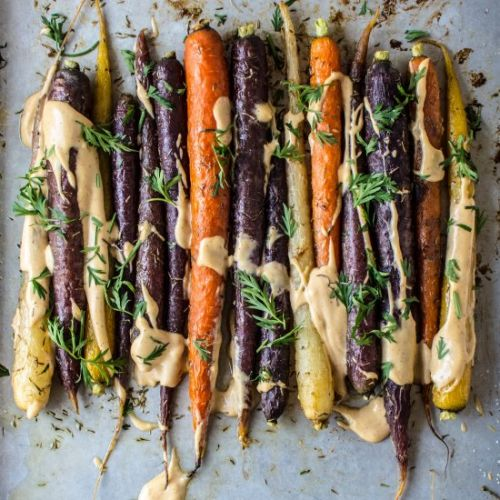 Roasted Sesame Carrots with Tahini