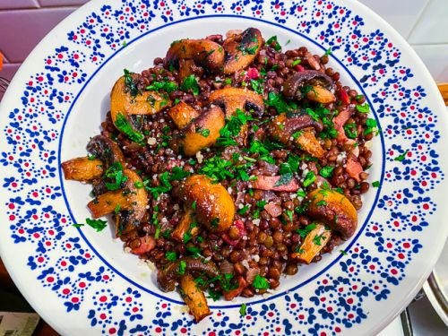 French Green Lentils with Bacon, Red Wine, and Mushrooms