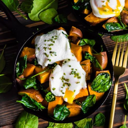 Sweet potato spinach hash