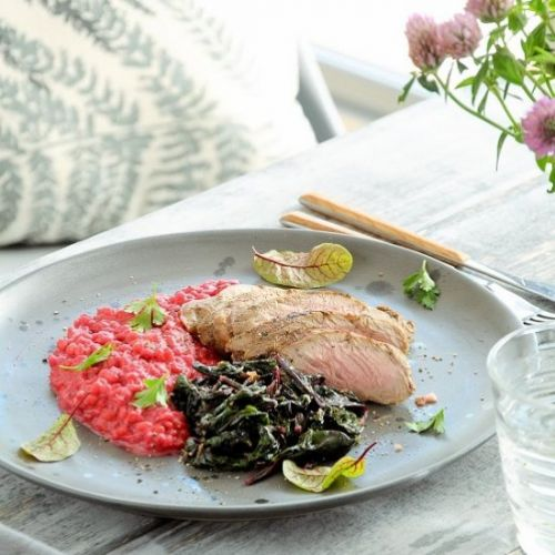 Marinated veal with risotto