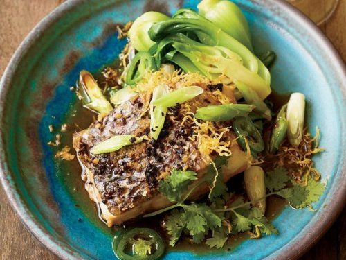 © John KernickSteamed Wild Striped Bass with Ginger and