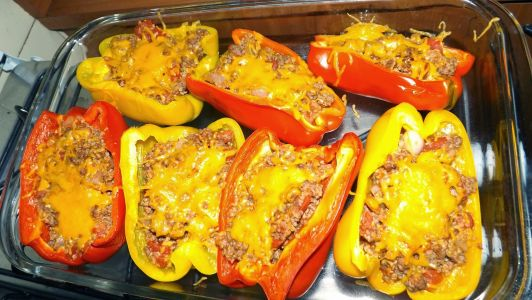 Peppers Stuffed with Beef and Quinoa