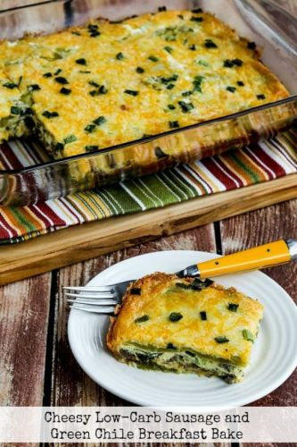 Cheesy Low-Carb Sausage and Green Chile Breakfast Bake
