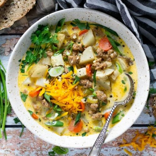 Sausage and Potato Beer Cheese Soup