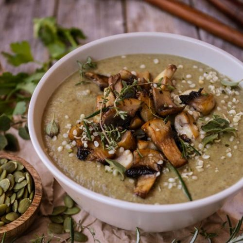 Broccoli, lentil and mushroom soup