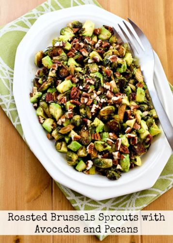 Roasted Brussels Sprouts with Avocados and Pecans