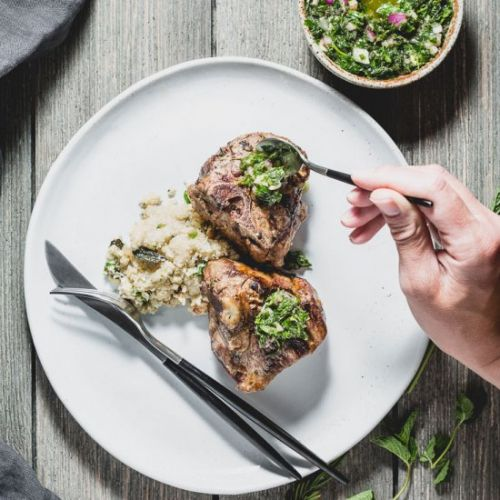 Lamb Chops with Mint Chimichurri