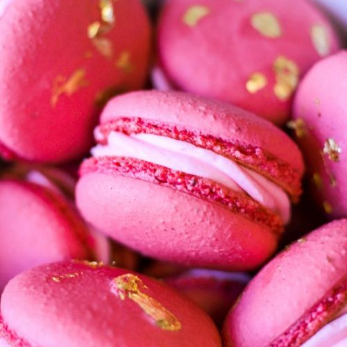 Strawberry Champagne Rose Macarons