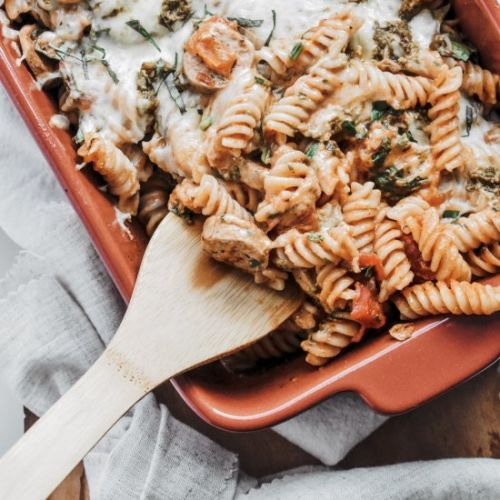 Cheesy Chicken Sausage Pasta Bake