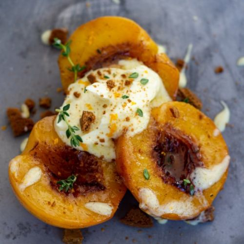 Roasted Peaches Ginger & Mascarpone