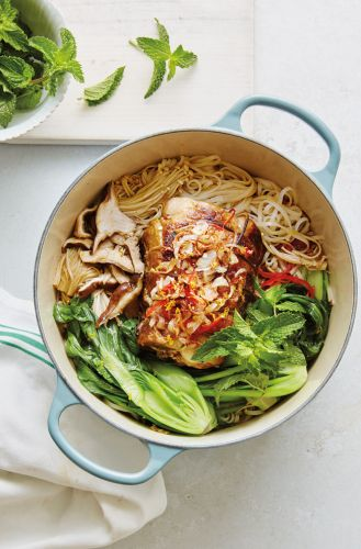 Braised Spiced Pork with Rice Noodles and Bok Choy