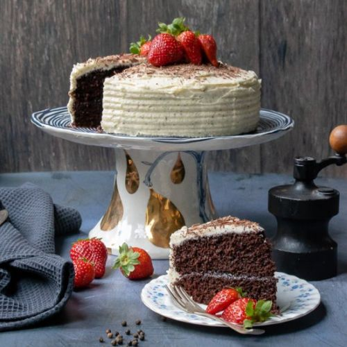 Chocolate Cake with Pepper Frosting