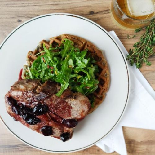 Cherry-Bourbon Pork n Waffles