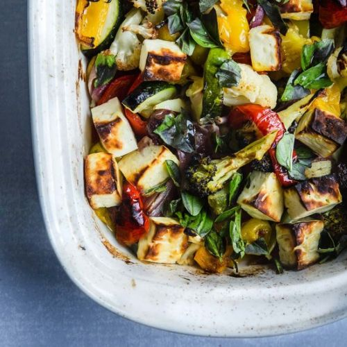 Roasted Veg & Halloumi Tray Bake