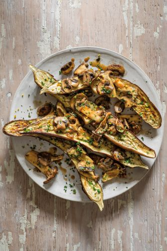 Roasted Eggplant with Wine-Braised Mushrooms and Gremolata