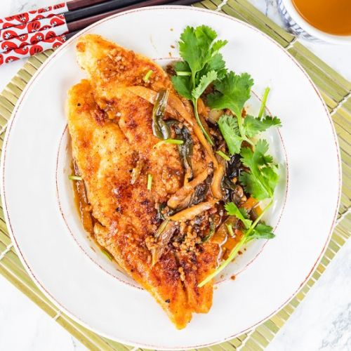 Chinese pan fried fish soy sauce