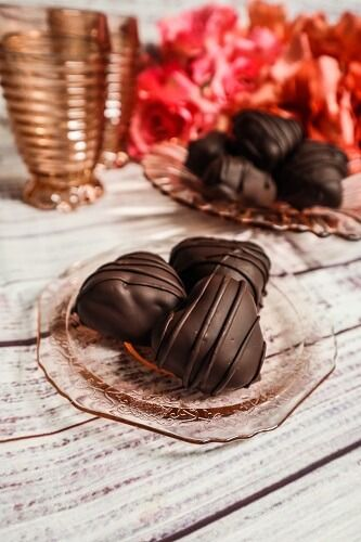 Vegan Chocolate Caramel Hearts