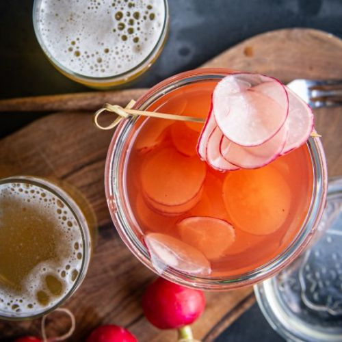 Sriracha Beer Pickled Radishes