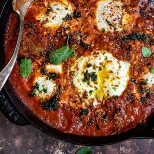 Eggs in purgatory with potatoes