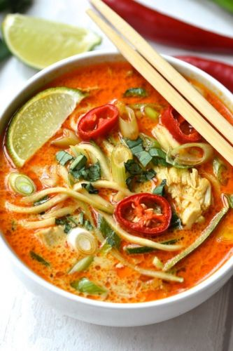 Zucchini Noodle Thai Curry Soup