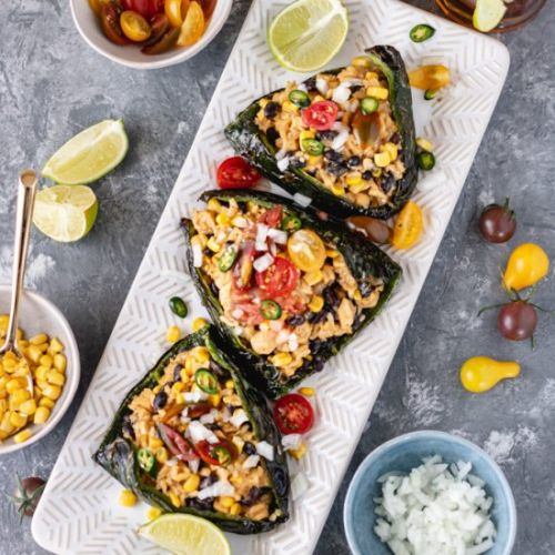 Easy Stuffed Poblano Peppers
