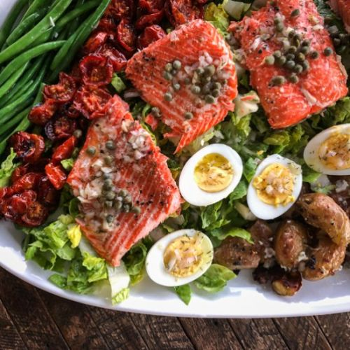 Salmon Salad with Smashed Potatoes