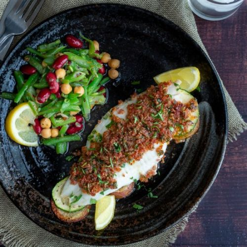 Baked Chorizo Crusted Fish