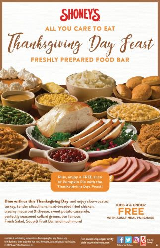 Shoney's Doors Are Wide Open on Thursday, November 23, for a Spectacular, All You Care To Eat Thanksgiving Day Freshly Prepared Food Bar!
