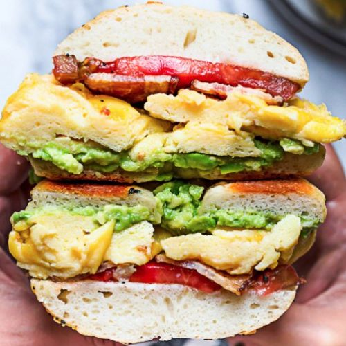 Bacon Egg Avocado Breakfast Bagel