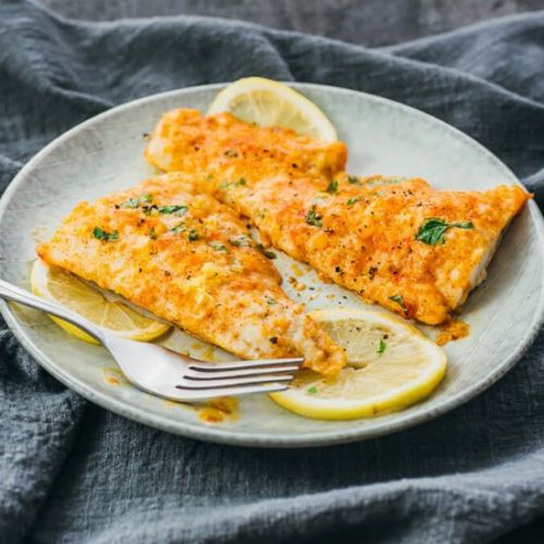 Lemon baked cod with parmesan