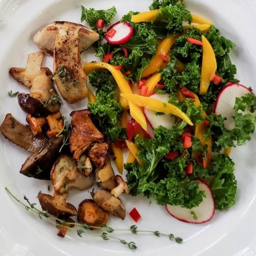 Wild Mushrooms with Kale & Mango